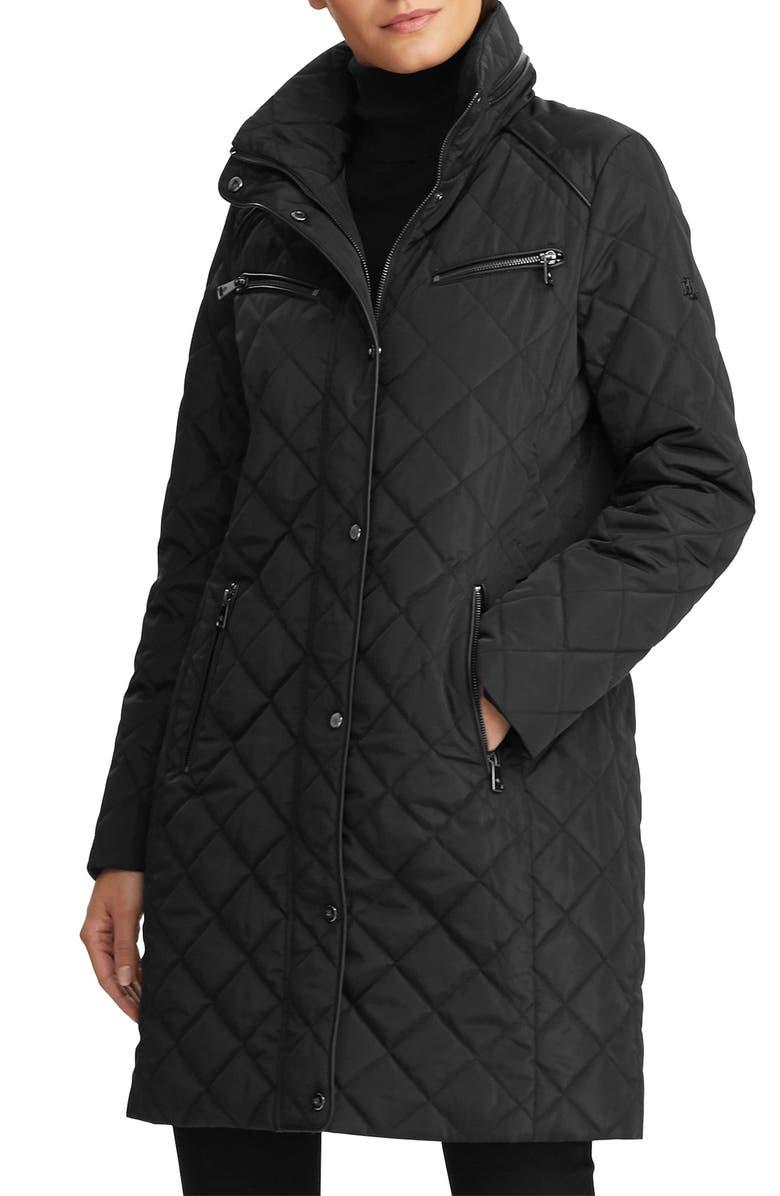 LAUREN RALPH LAUREN Faux Leather Trim Quilted Coat, Main, color, BLACK