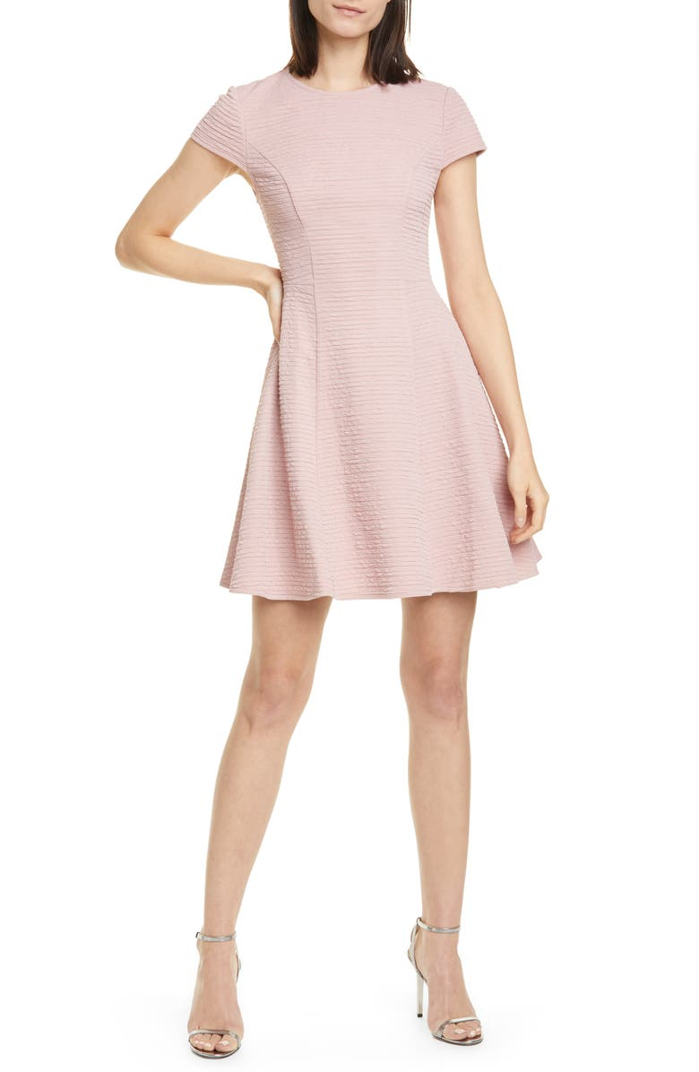 TED BAKER LONDON Cherisa Fit & Flare Dress, Main, color, NUDE PINK