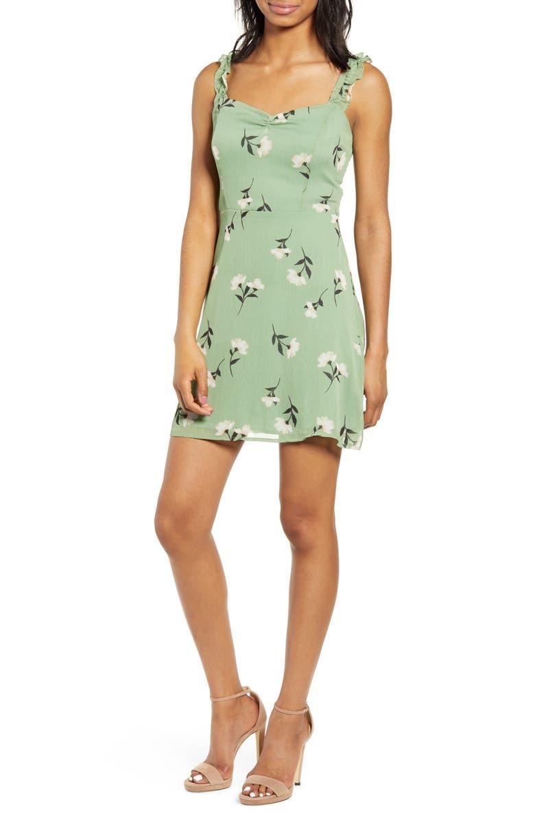 ALL IN FAVOR Stella Ruffle Strap Minidress, Main, color, PINE FLORAL