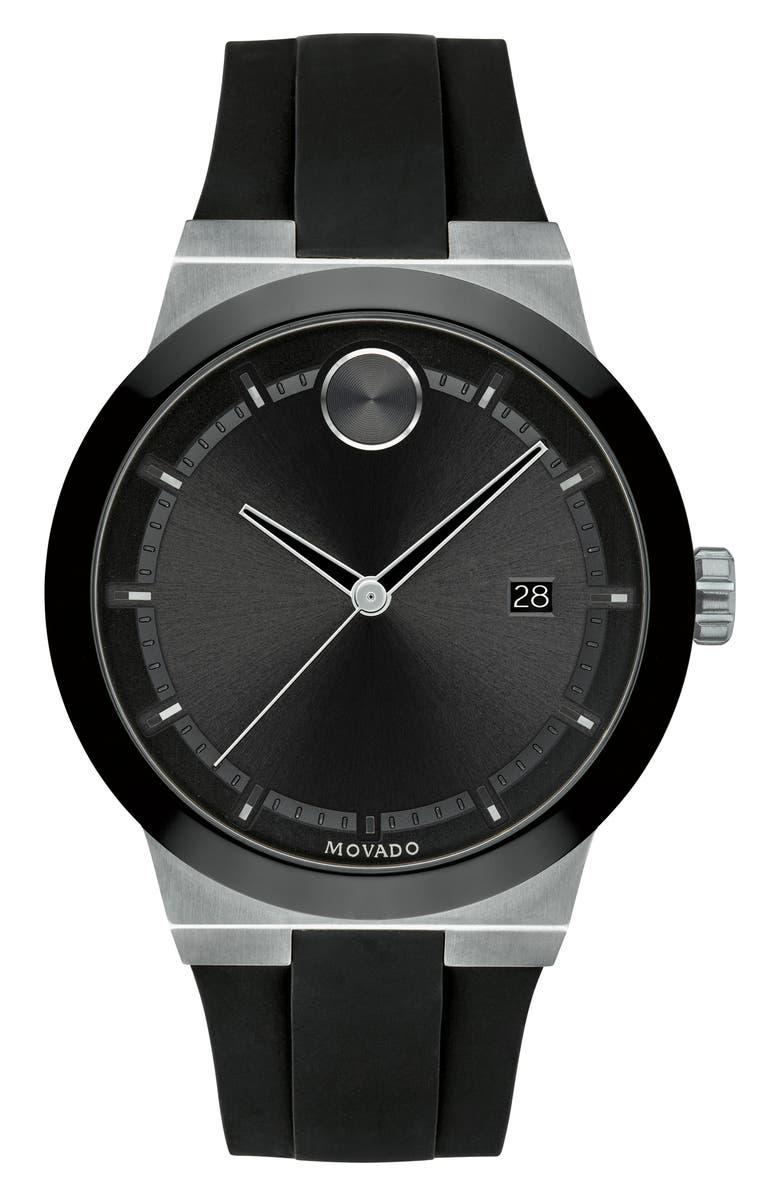 MOVADO Bold Fusion Silicone Strap Watch, 42mm, Main, color, BLACK/ SILVER
