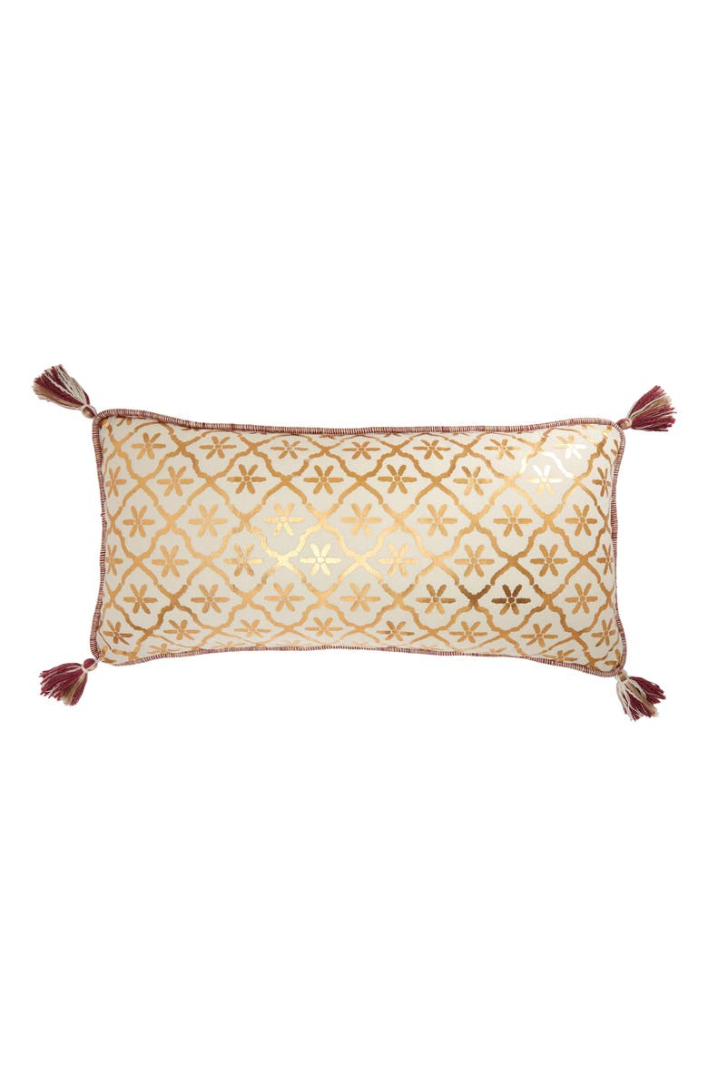 ANTHROPOLOGIE HOME Feze Metallic Print Tassel Accent Pillow, Main, color, 250