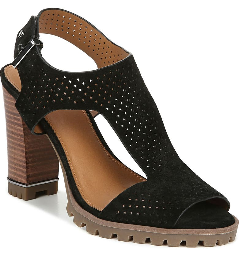 SARTO BY FRANCO SARTO Allister Perforated Sandal, Main, color, BLACK SUEDE