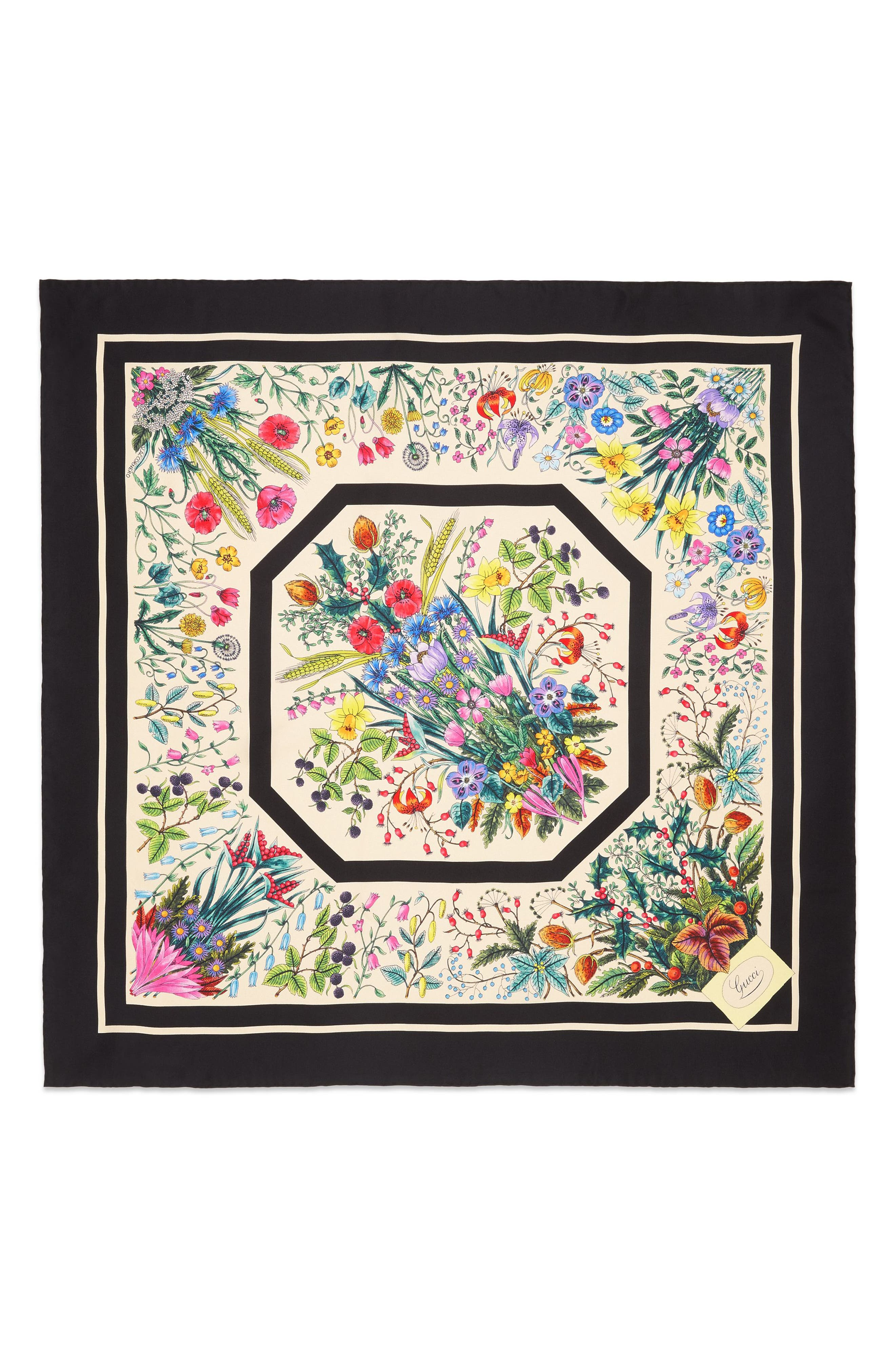 ,                             Festival Floral Square Silk Scarf,                             Main thumbnail 1, color,                             BLACK/ IVORY