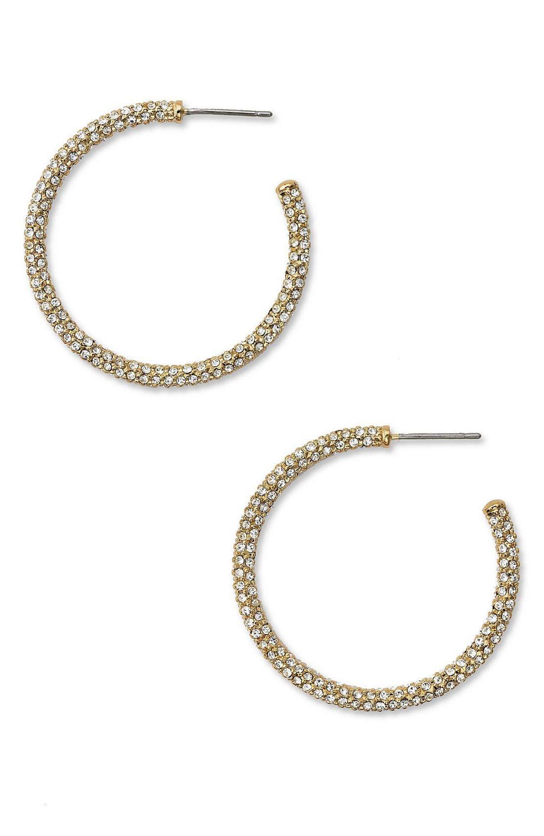,                             Medium Pavé Hoop Earrings,                             Main thumbnail 3, color,                             GLD