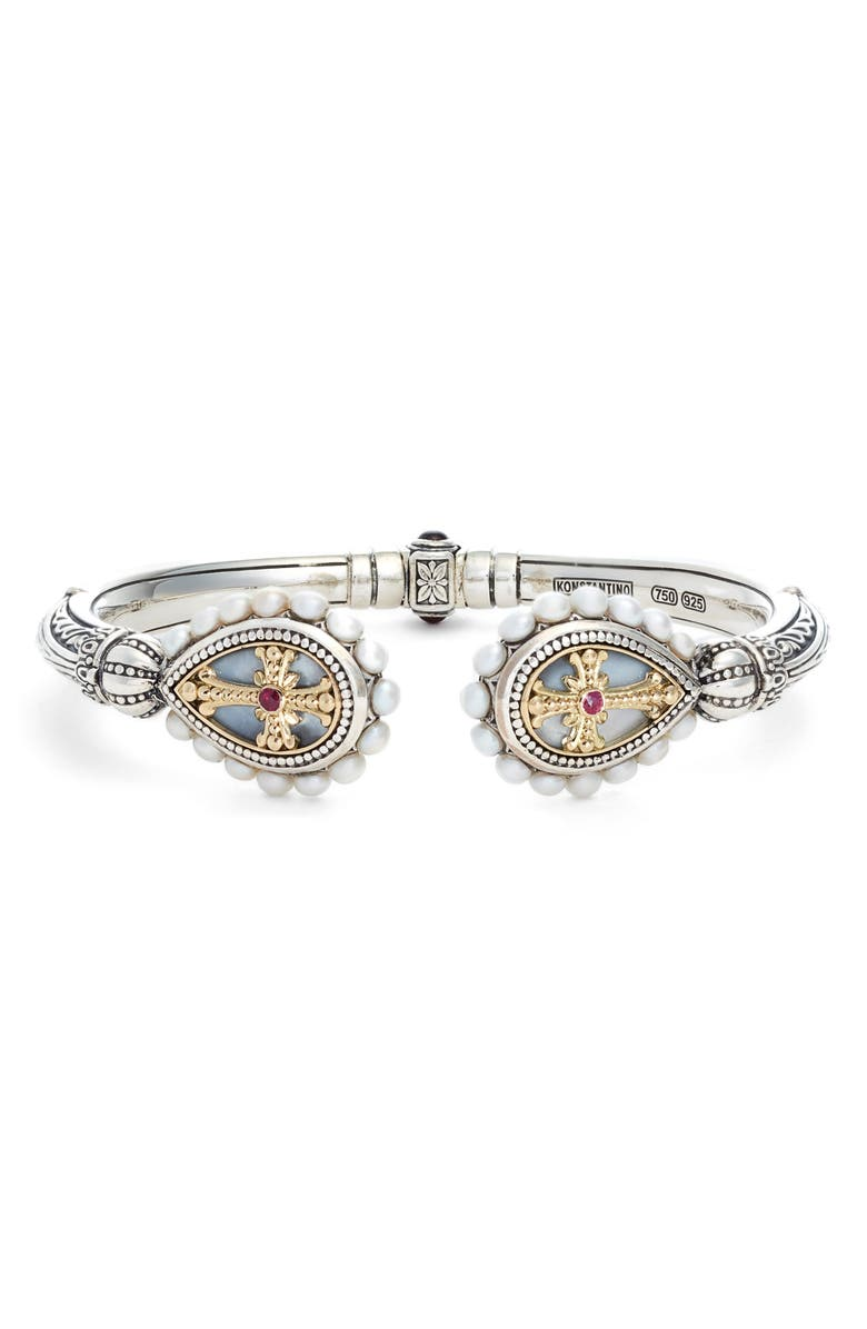 KONSTANTINO Etched Sterling Pearl & Ruby Hinged Bracelet, Main, color, SILVER/ GOLD/ WHITE