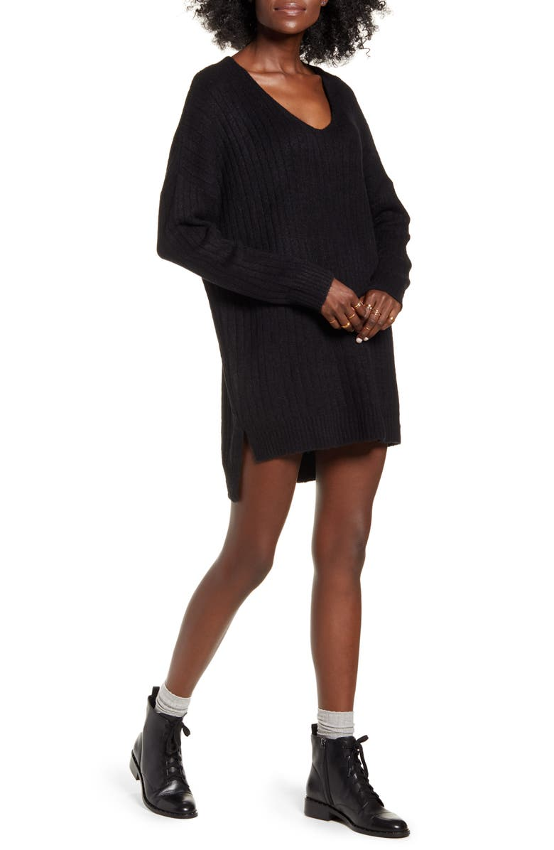 DREAMERS BY DEBUT Ribbed Long Sleeve Sweater Minidress, Main, color, BLACK