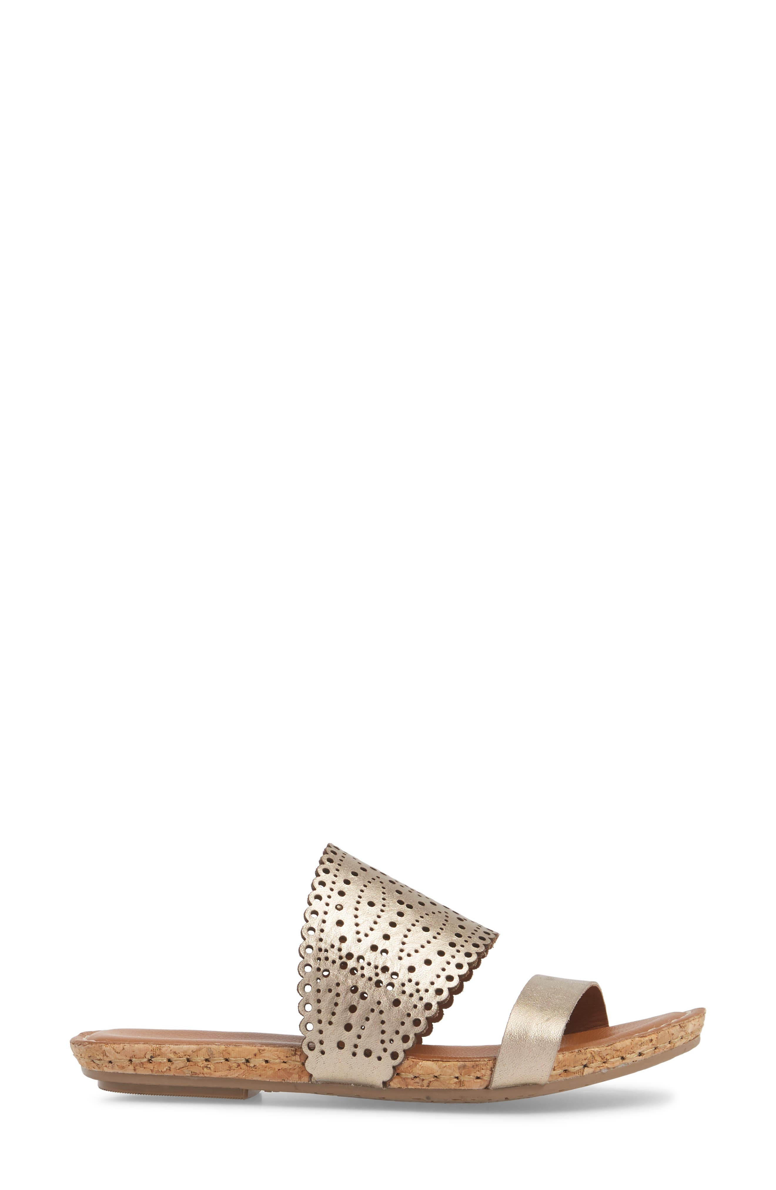 ,                             Ginette Perforated Slide Sandal,                             Alternate thumbnail 3, color,                             PEWTER LEATHER