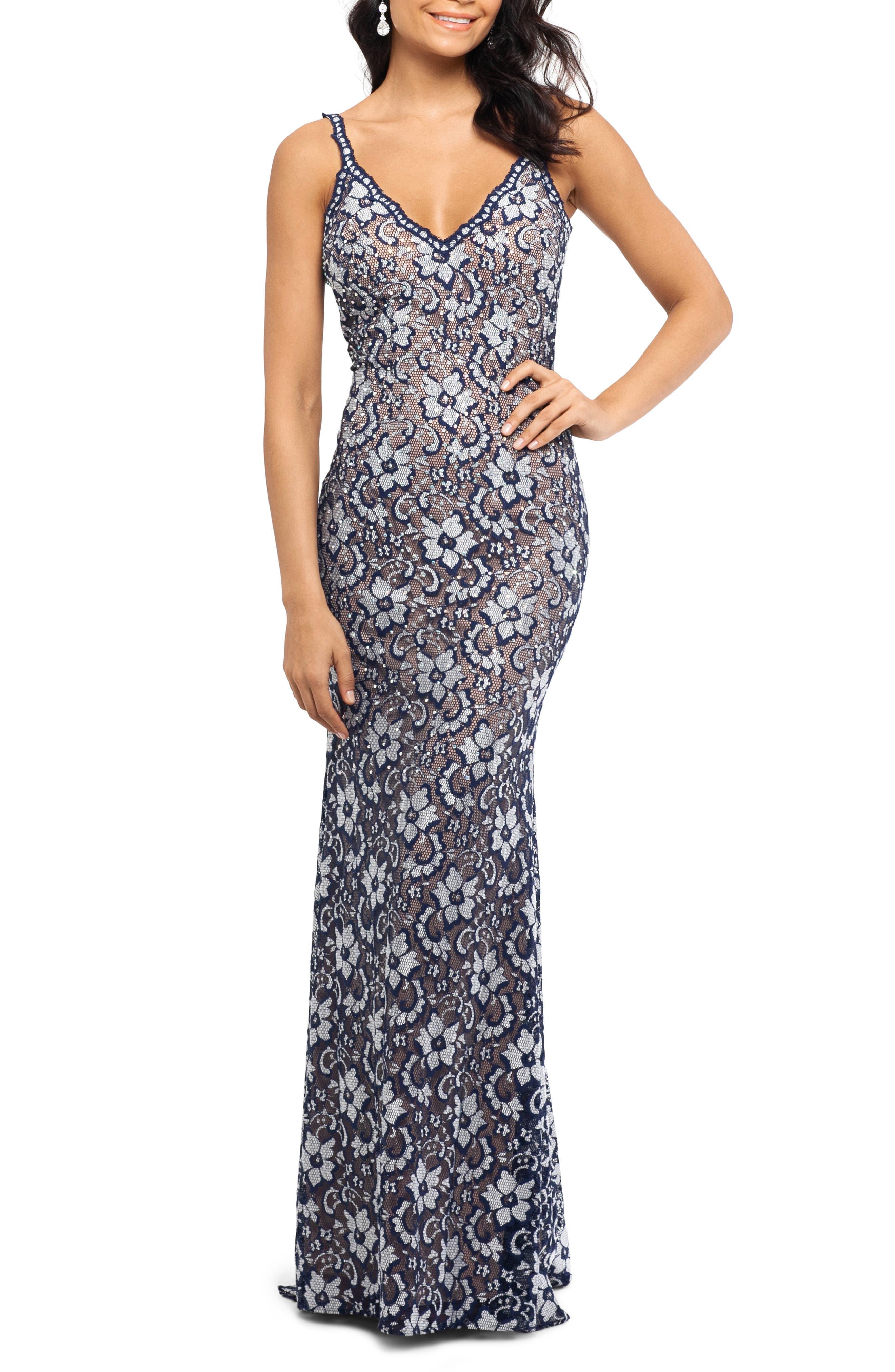 Xscape Two-Tone Lace Trumpet Gown, Blue
