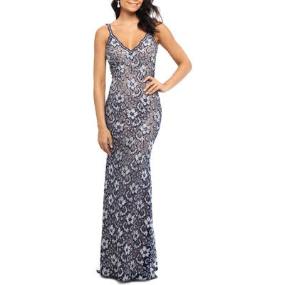 Xscape Two-Tone Lace Trumpet Gown, Blue