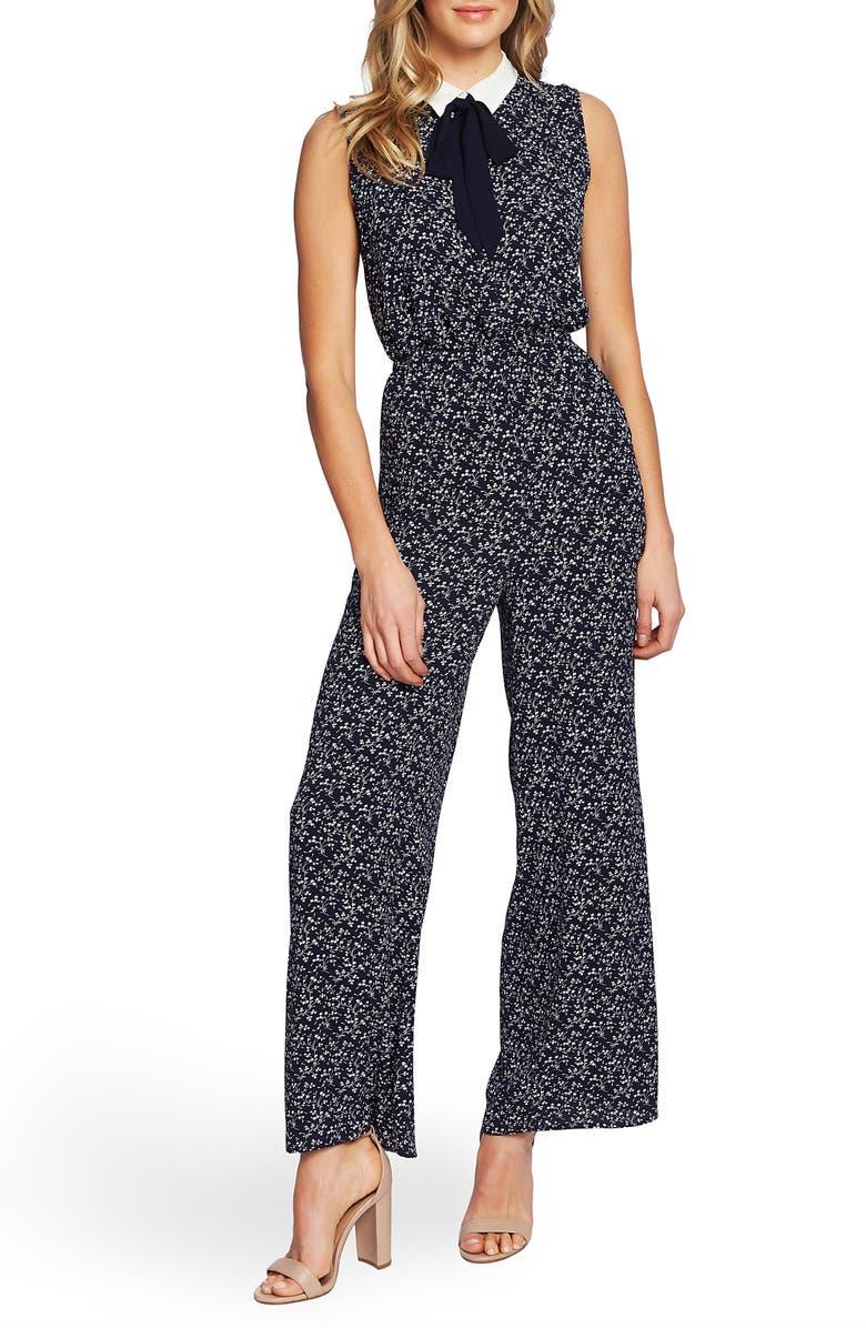 CECE Tie Neck Floral Print Jumpsuit, Main, color, 400