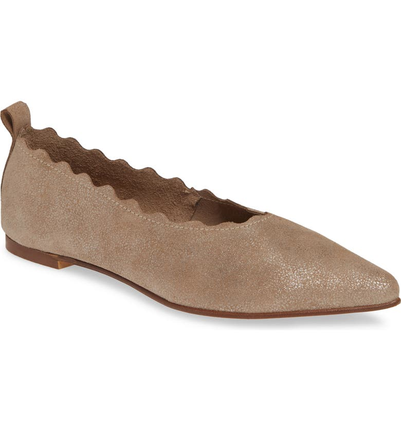 KLUB NICO Naomi Scallop Pointy Toe Flat, Main, color, PEWTER SPARKLE SUEDE