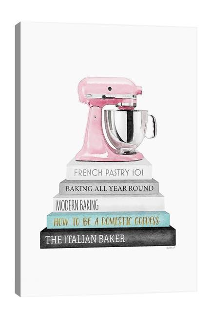 Image of iCanvas Baking Grey & Teal Bookstack With Pink Mixer by Amanda Greenwood