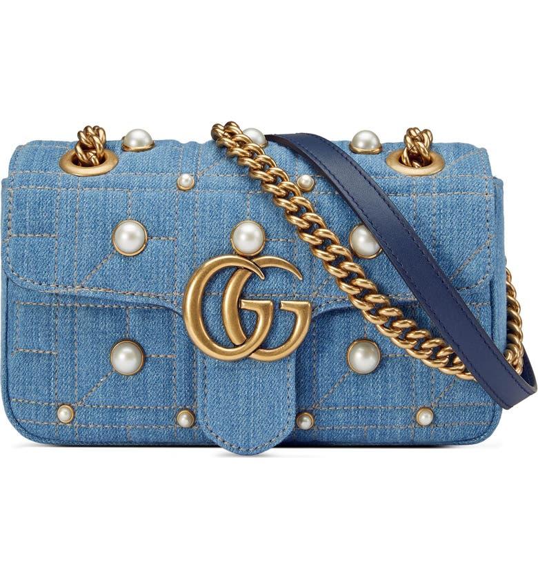 71a34a54d GG Marmont 2.0 Imitation Pearl Embellished Denim Crossbody Bag, Main,  color, 493