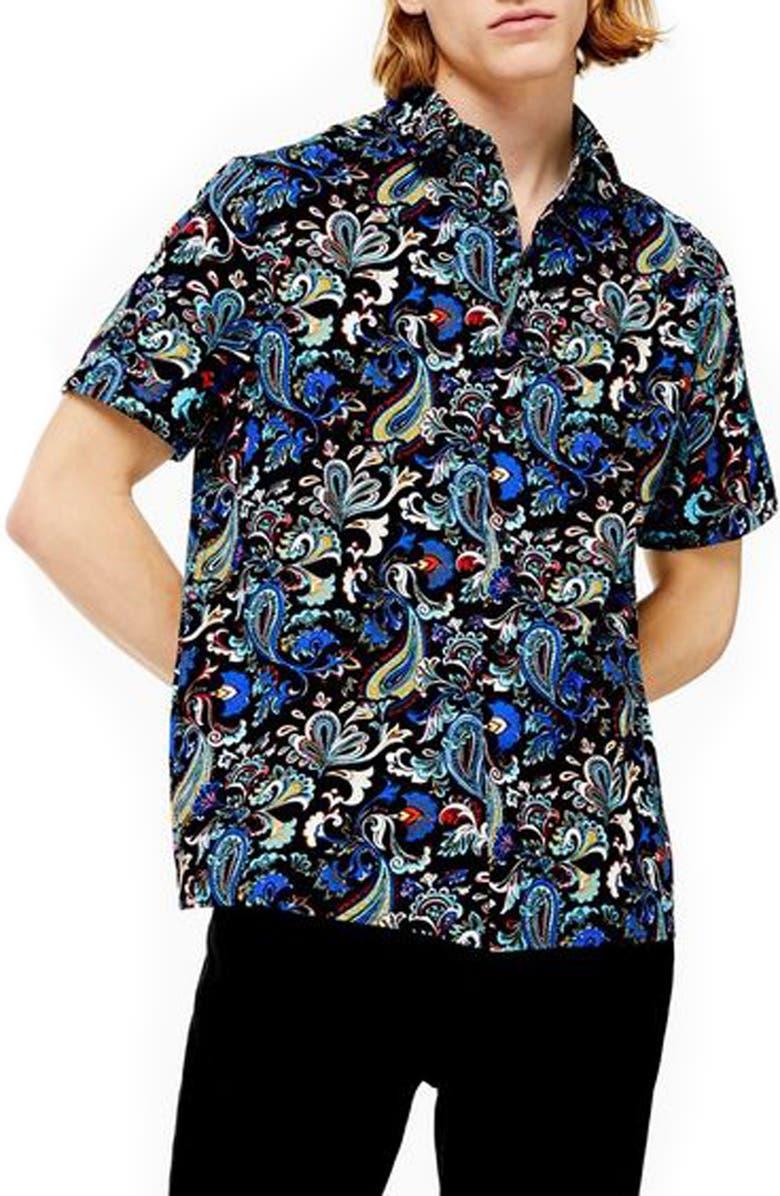 TOPMAN Paisley Shirt, Main, color, BLUE MULTI