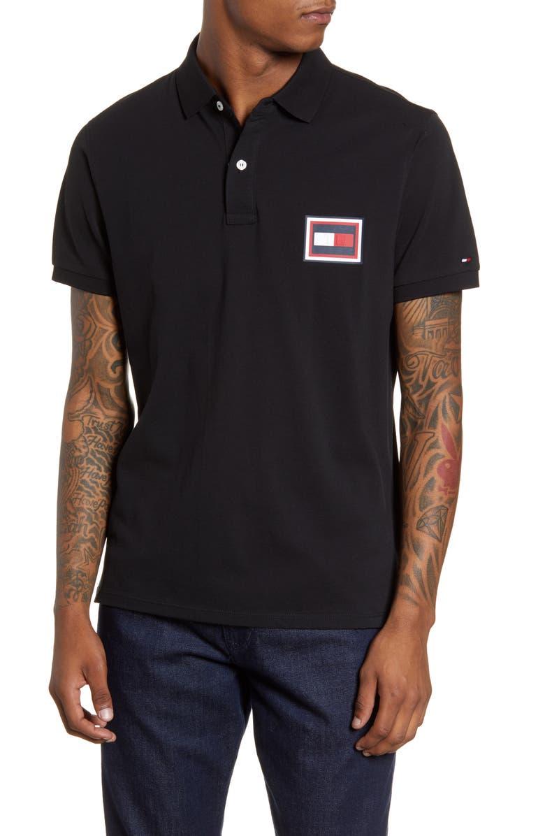 TOMMY HILFIGER Embossed Flag Piqué Polo, Main, color, BLACK