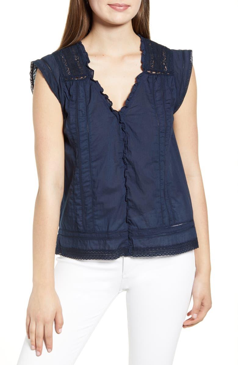VELVET BY GRAHAM & SPENCER Lace Detail Sleeveless Cotton Blouse, Main, color, 418