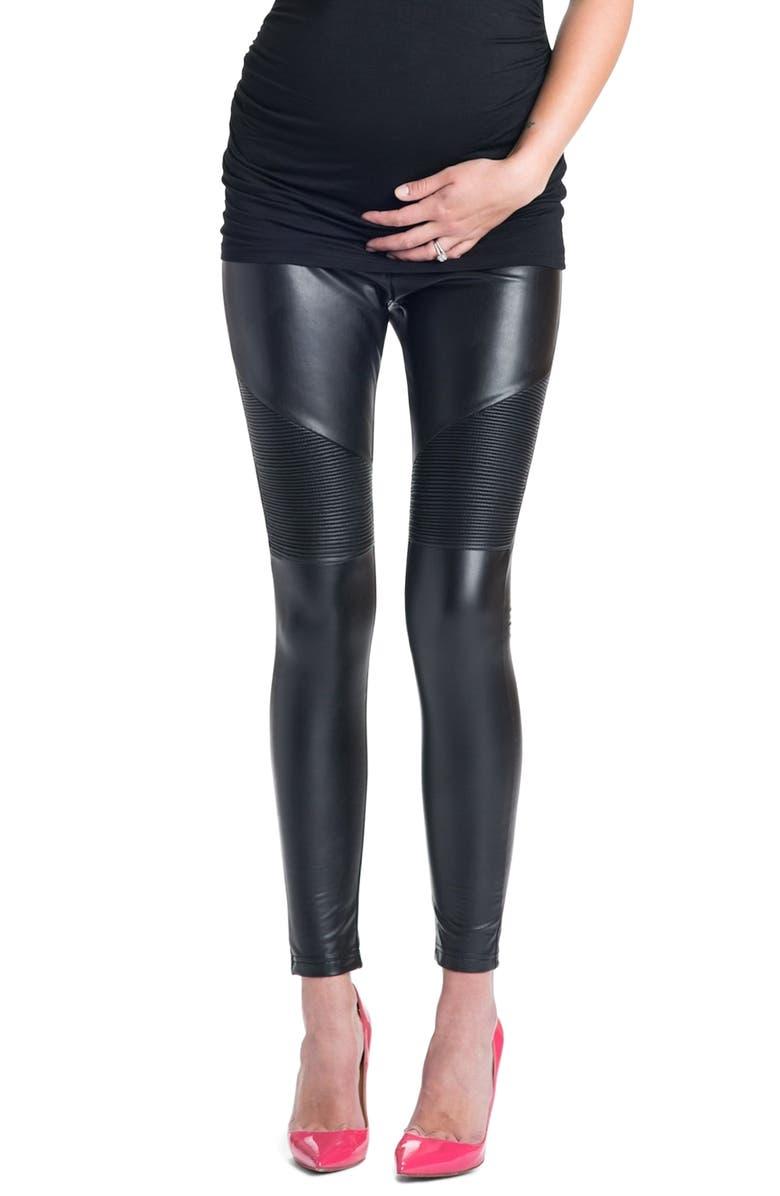 PREGGO LEGGINGS Rockstar Mamacita Maternity Moto Leggings, Main, color, BLACK