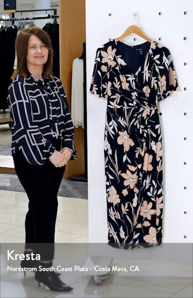 Floral Faux Wrap Crepe Midi Dress, sales video thumbnail