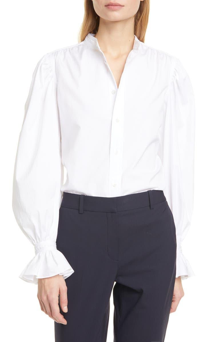 POLO RALPH LAUREN Gretchen Ruffle Sleeve Cotton Button-Up Shirt, Main, color, WHITE