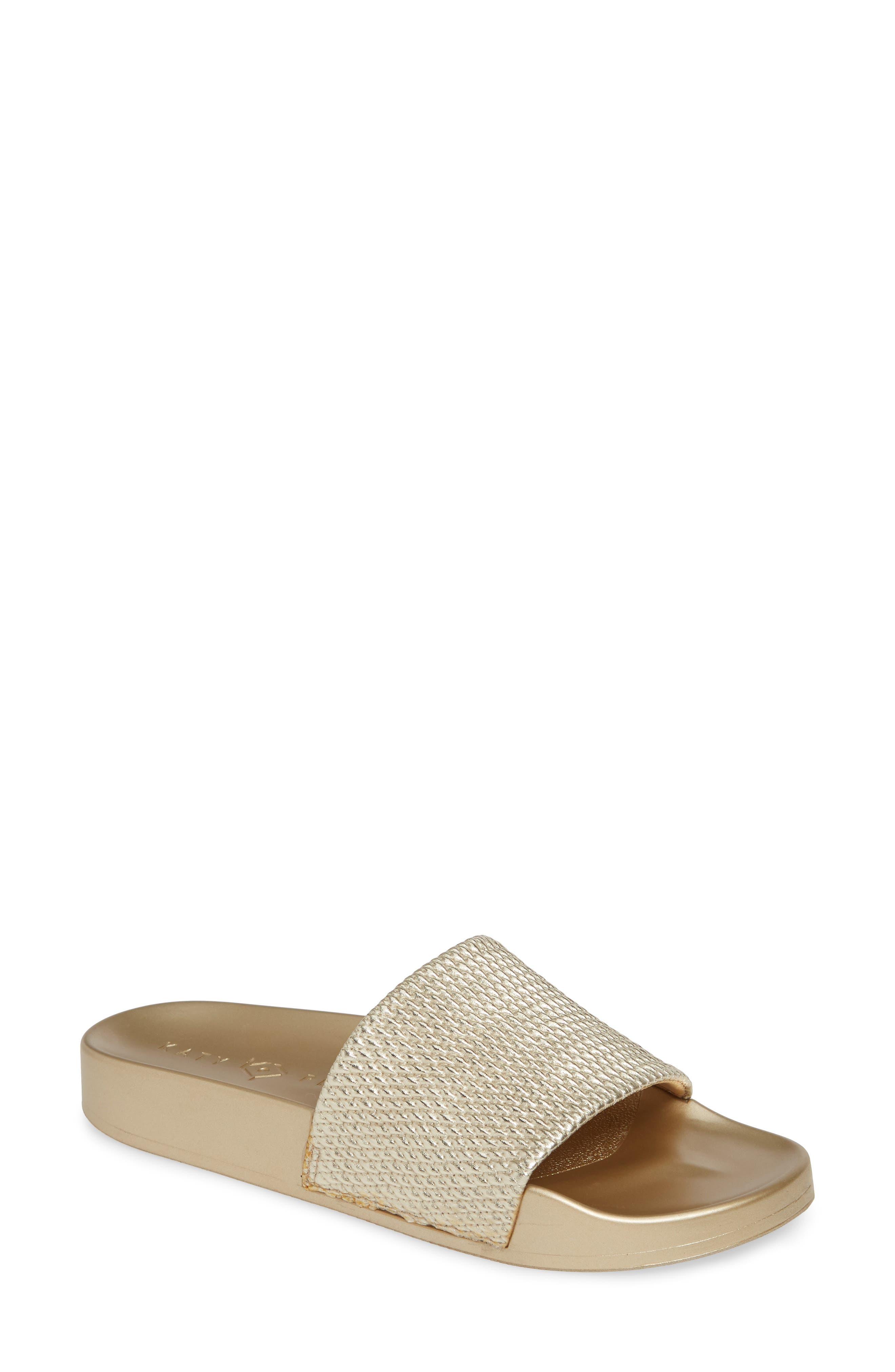 women's katy perry the jimmi slide sandal, size 10 m - metallic