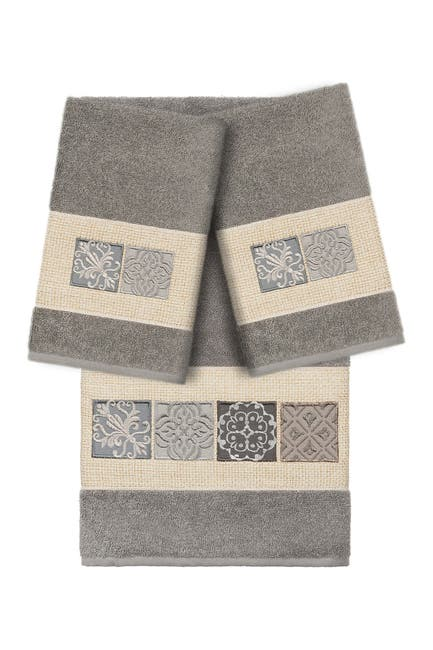 Image of LINUM HOME Vivian 3-Piece Embellished Towel - Dark Gray