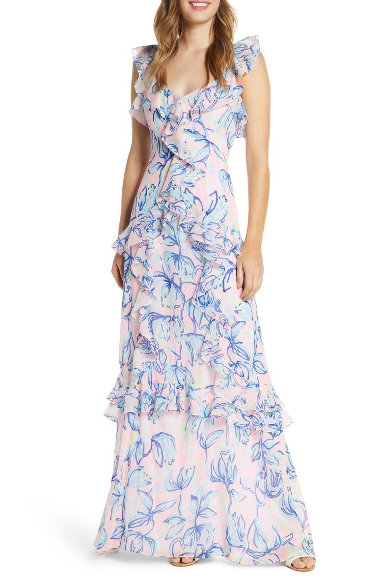 LILLY PULITZER<SUP>®</SUP> Riland Ruffle Maxi Dress, Main, color, SWEET PEA PINK CHASING THE SUN