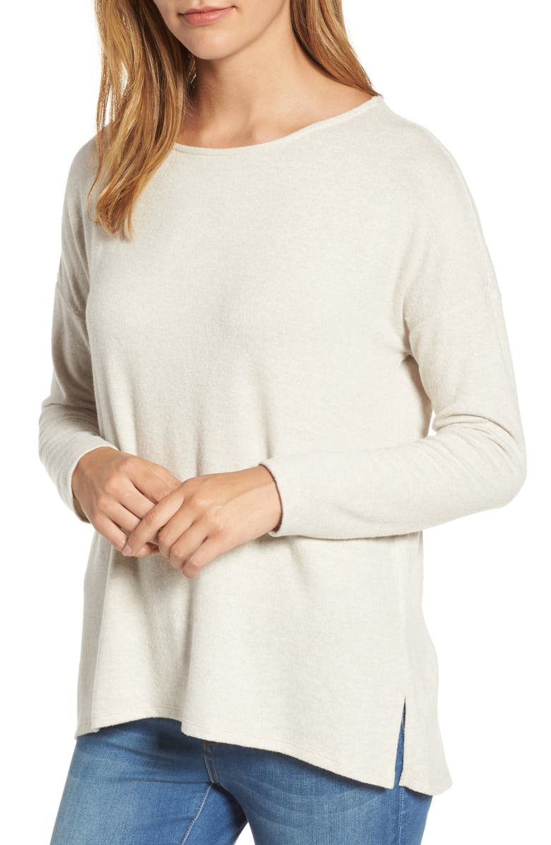 GIBSON Cozy Ballet Neck High/Low Pullover, Main, color, 250