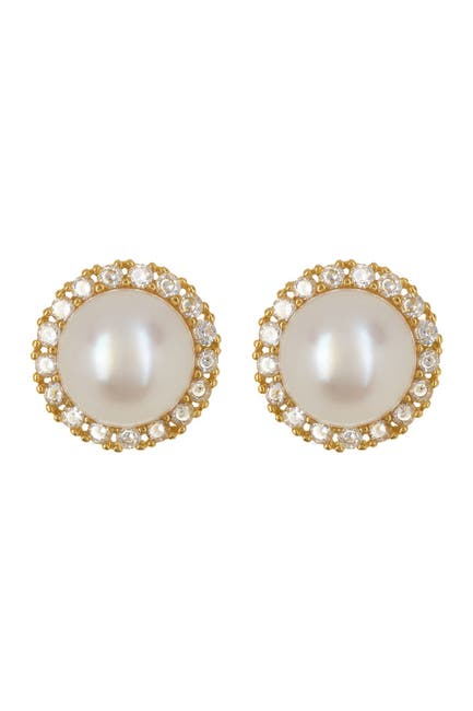 Image of ADORNIA Gold-Plated CZ 5mm Freshwater Pearl Halo Earrings