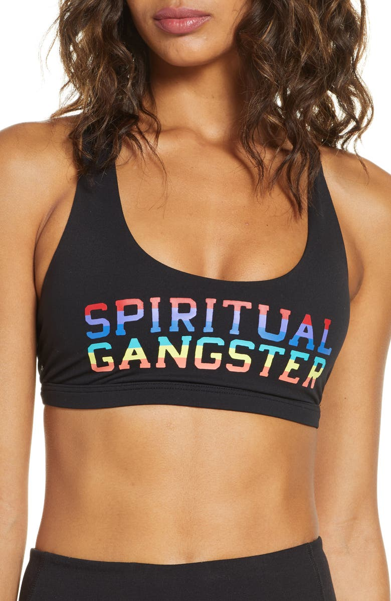 SPIRITUAL GANGSTER Rainbow Reana Racerback Sports Bra, Main, color, BLACK