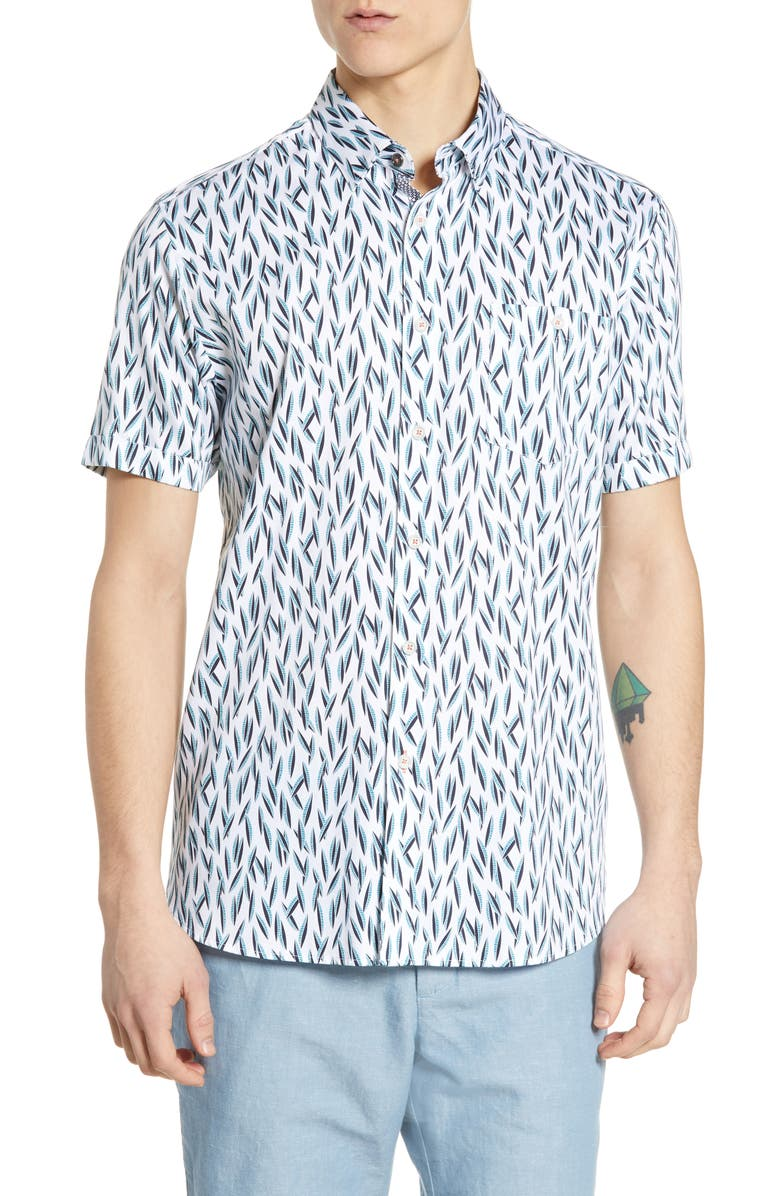 TED BAKER LONDON Wollrus Slim Fit Print Sport Shirt, Main, color, TURQUOISE