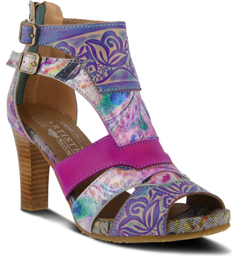 L'ARTISTE Brooke Sandal, Main, color, FUCHSIA MULTI LEATHER