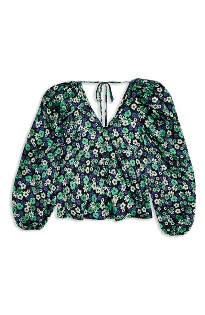 TOPSHOP FLORAL PUFF SLEEVE BLOUSE