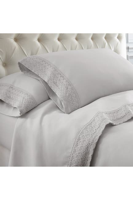Image of Modern Threads Full Crochet Lace 4-Piece Sheet Set - Gray