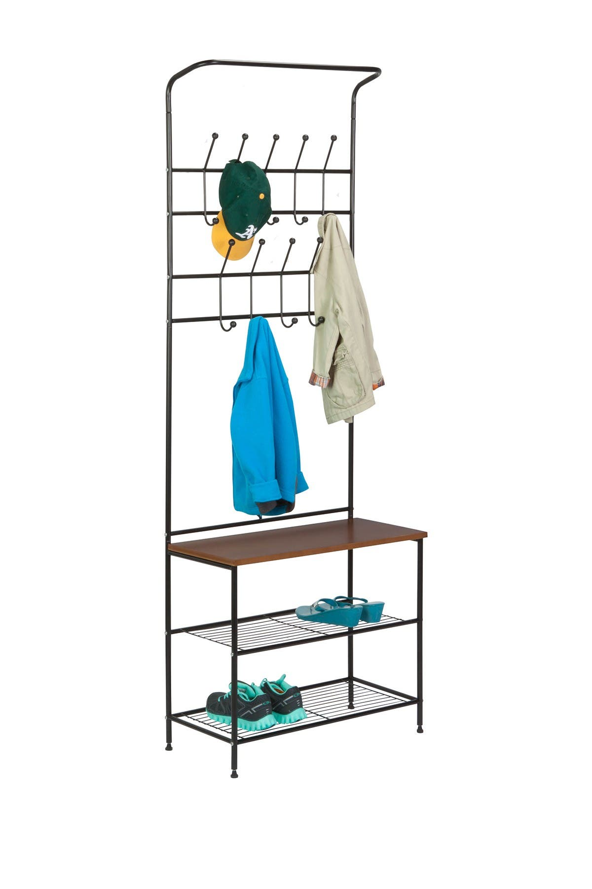 Image of Honey-Can-Do Black/Cherry Entryway Storage Valet