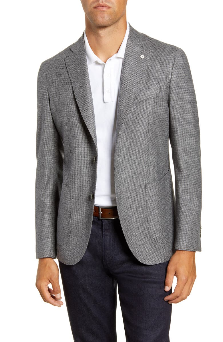 L.B.M. 1911 Trim Fit Houndstooth Wool Sport Coat, Main, color, GREY