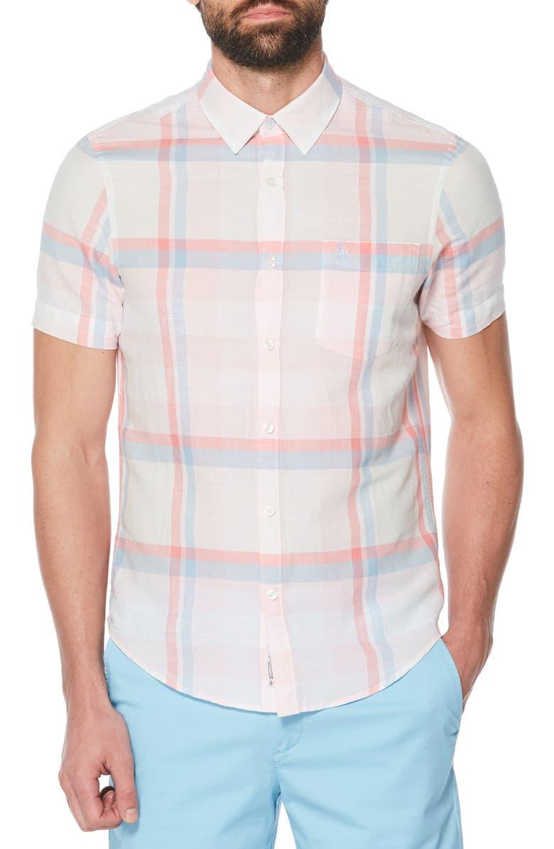 ORIGINAL PENGUIN Exploded Plaid Woven Shirt, Main, color, 688