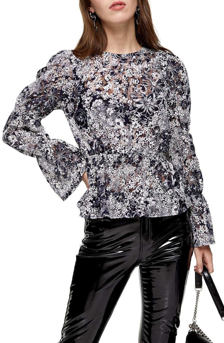 TOPSHOP Floral & Lace Bell Sleeve Top, Main, color, NAVY MULTI