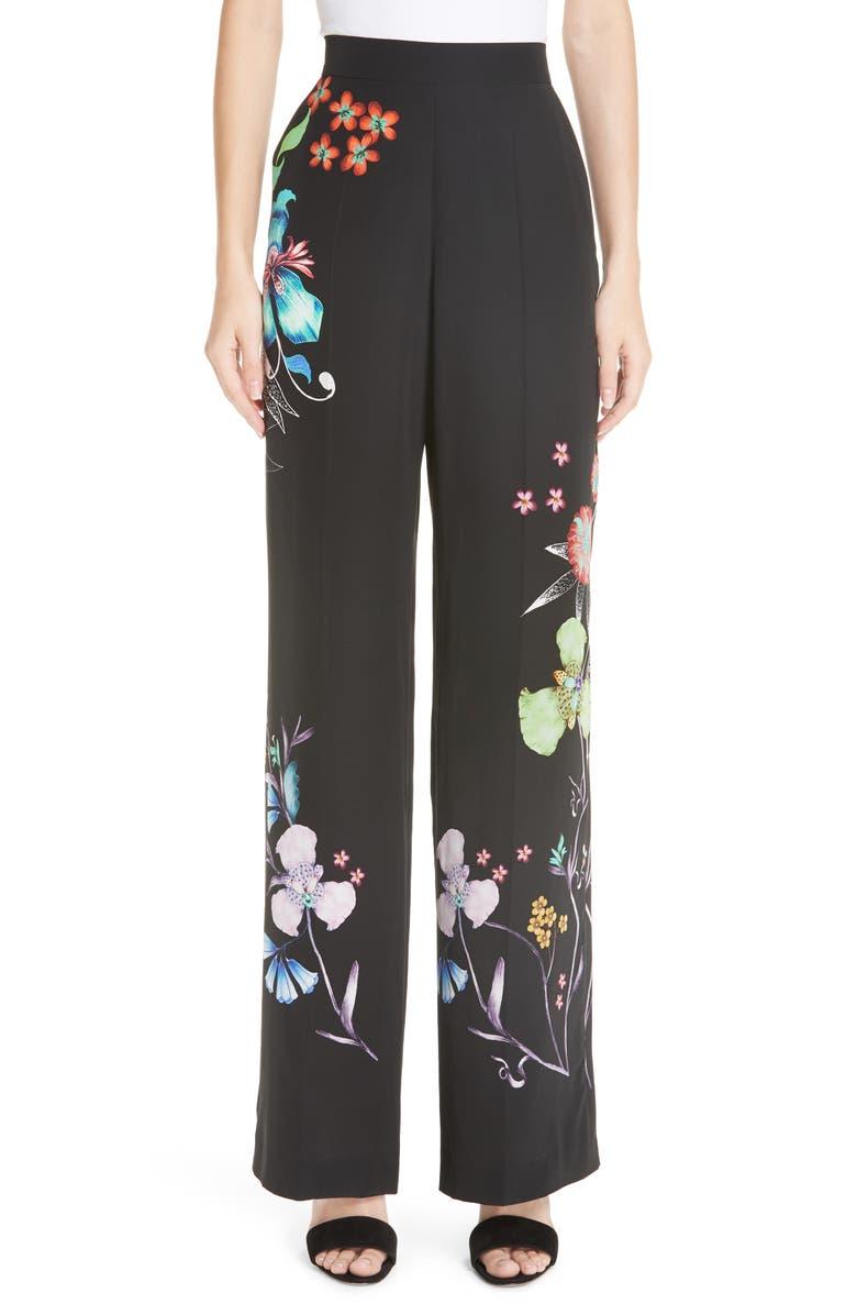 ETRO Largo Floral Print Silk Pants, Main, color, 001
