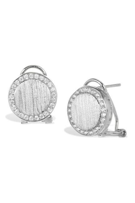 Image of Savvy Cie Sterling Silver CZ Halo Stud Earrings