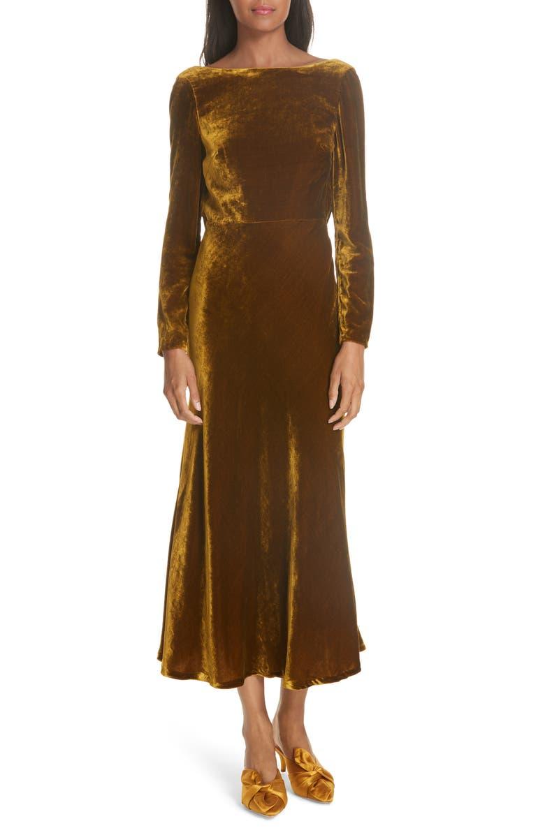 SALONI Tina Cowl Back Velvet Dress, Main, color, 200