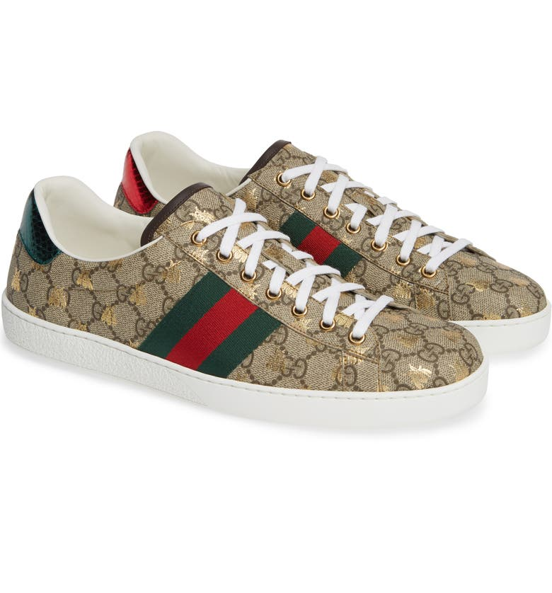 GUCCI New Ace GG Supreme Sneaker, Main, color, BEIGE/ GOLD