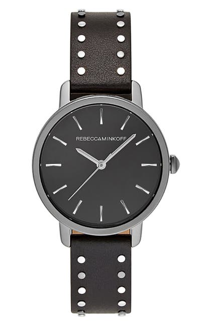 Image of Rebecca Minkoff BFFL Studded Leather Strap Watch, 36mm