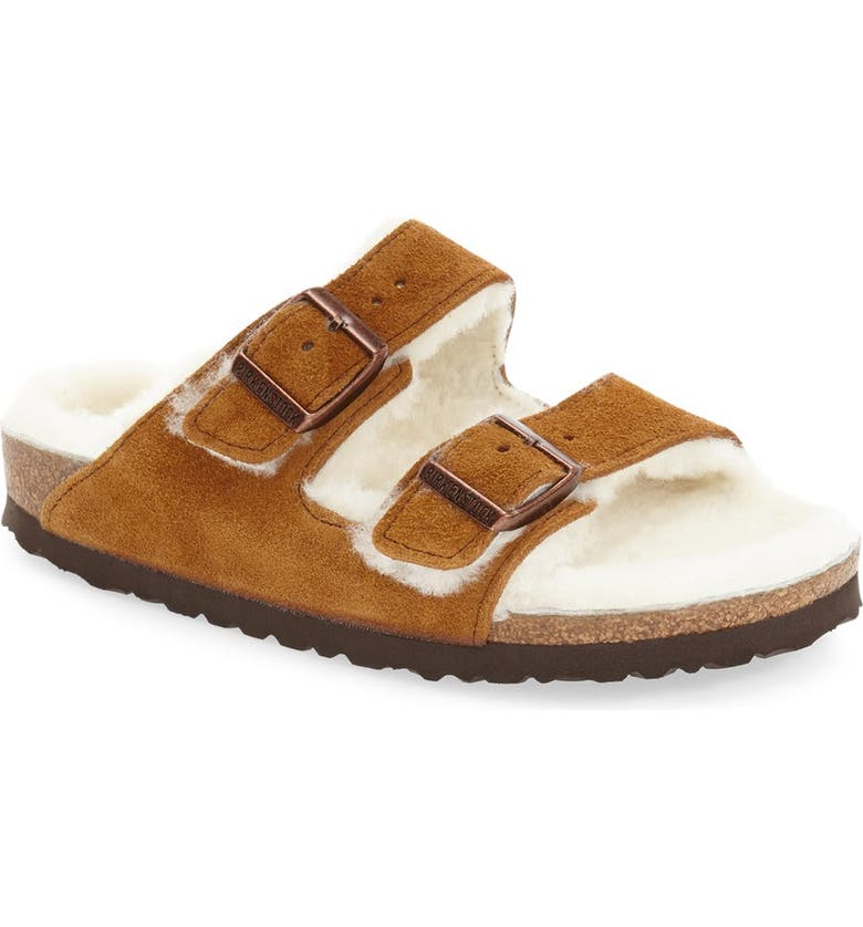 BIRKENSTOCK Arizona Genuine Shearling Lined Slide Sandal, Main, color, 201