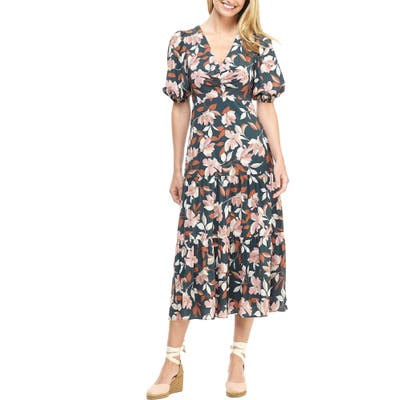 Petite Gal Meets Glam Collection Tegan Floral Print Tiered Midi Dress, Green