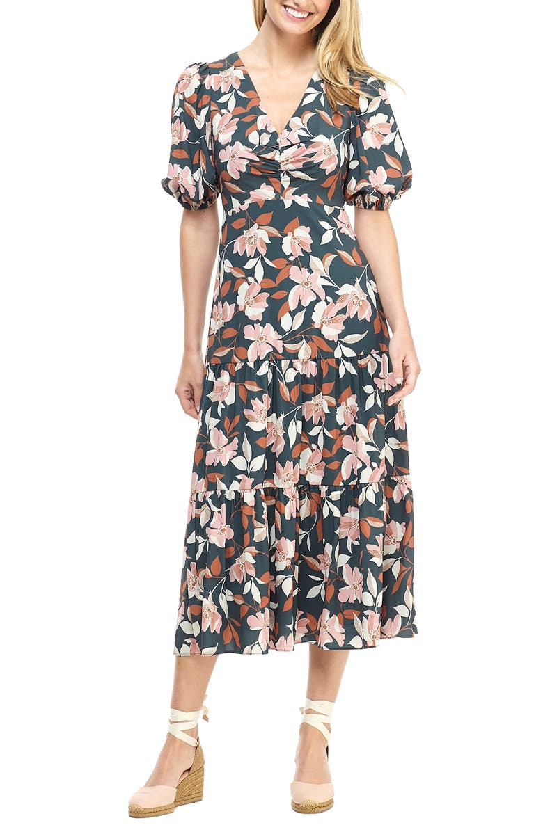 GAL MEETS GLAM COLLECTION Tegan Floral Print Tiered Midi Dress, Main, color, GREEN
