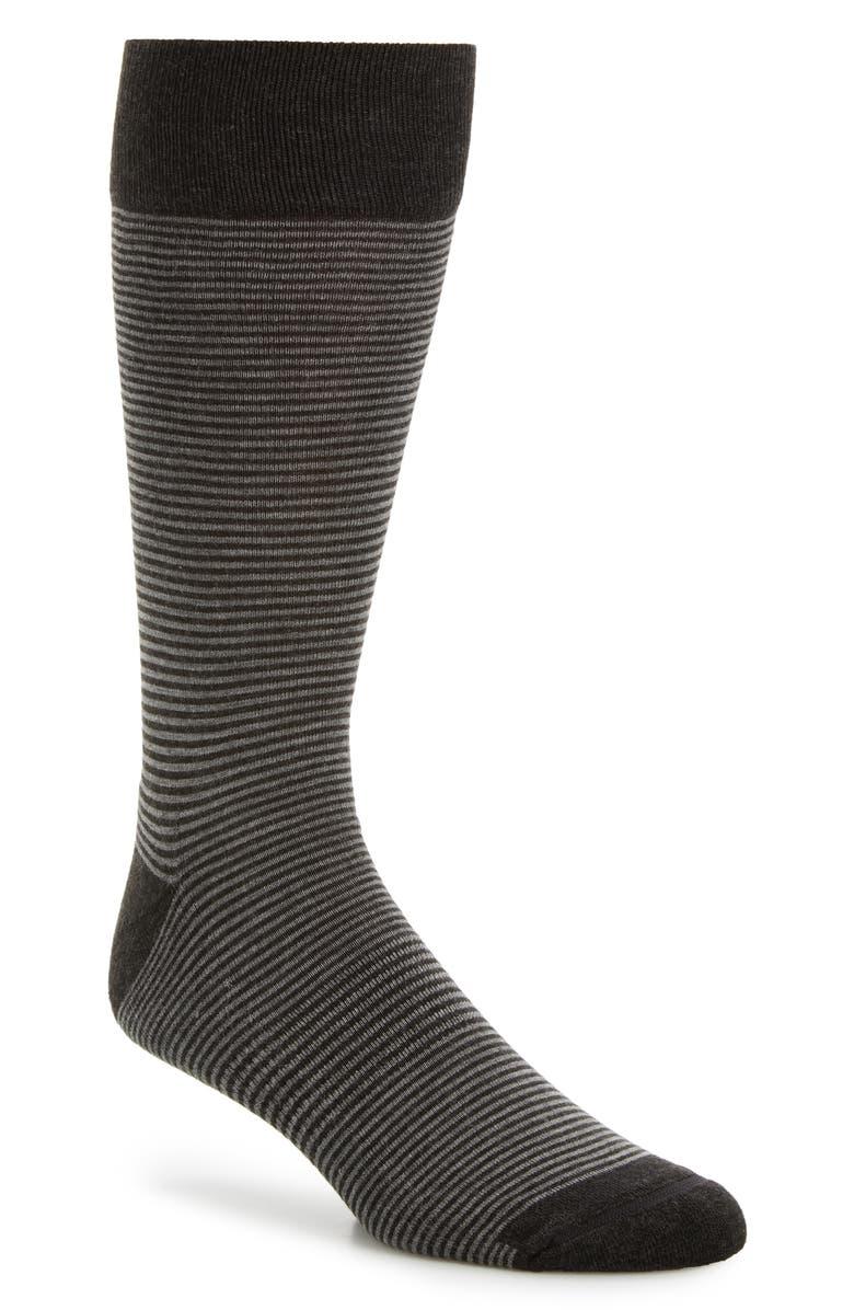 NORDSTROM MEN'S SHOP Feeder Stripe King Size Socks, Main, color, CHARCOAL/ GREY