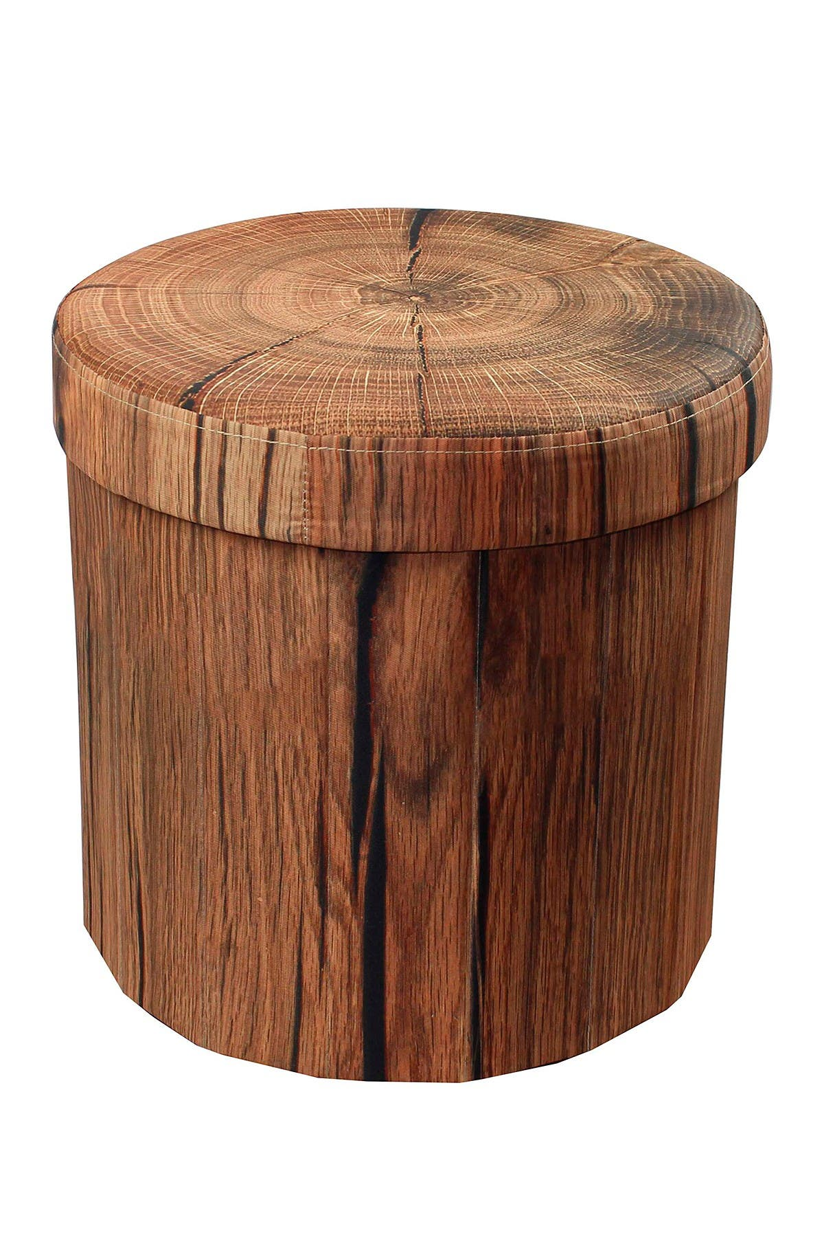 Image of Sorbus Foldable Printed Round Storage Ottoman - Tree Stump