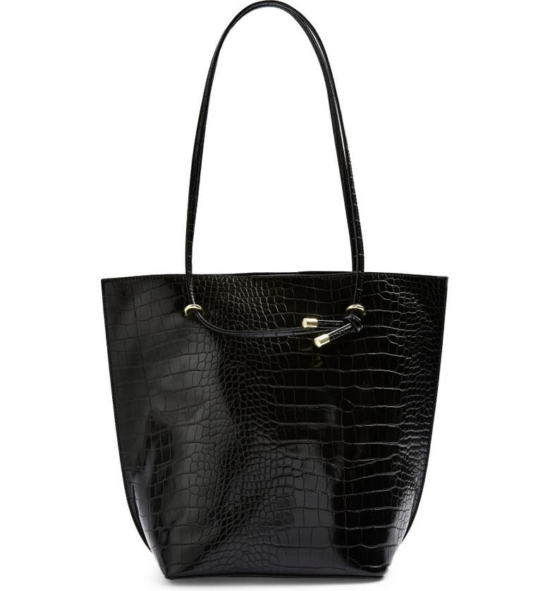 TOPSHOP Pepper Croc Embossed Faux Leather Tote, Main, color, 001