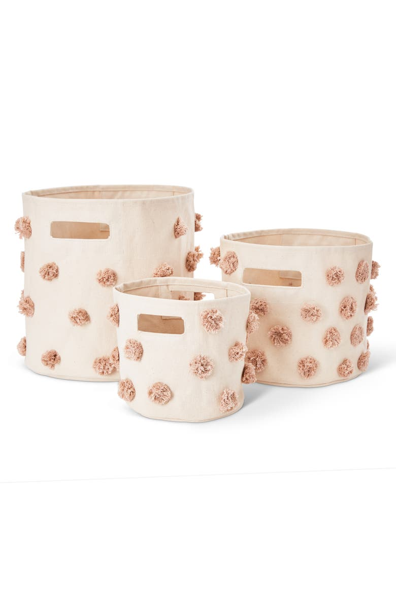 PEHR Pom Set of 3 Canvas Bins, Main, color, ROSE PINK