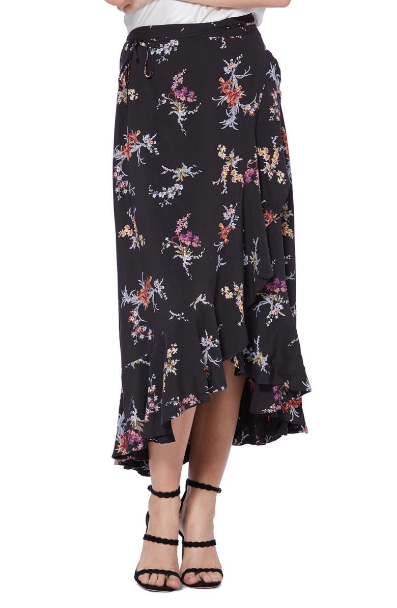 PAIGE Alamar Floral Wrap Skirt, Main, color, BLACK